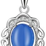 Sojewe Damen 925er Sterling Silber Blau Chalcedon Halskette Inlay Zirkonia Anhänger rhodiniert Kette