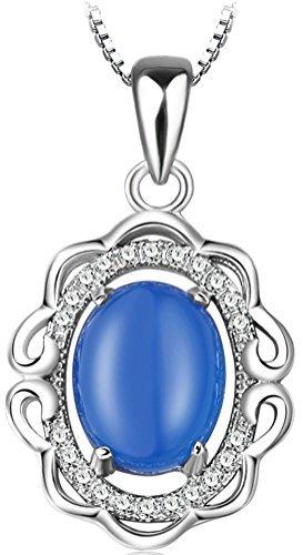41vr+MNFYDL - Sojewe Damen 925er Sterling Silber Blau Chalcedon Halskette Inlay Zirkonia Anhänger rhodiniert Kette