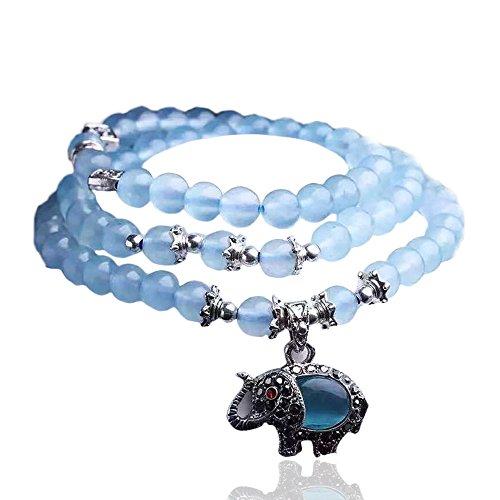 51IixF+U24L - mikini Damen Heilung natur blau Chalcedon MULTILAYER-Armband mit Augen Tibetisches Silber Elefant Charm Anhänger der, 8mm