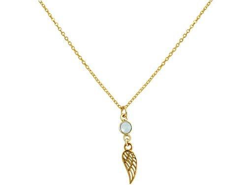 gemshine handmade halskette anhaenger vergoldet fluegel chalcedon meeresgruen 35 cm - Gemshine Handmade - Halskette - Anhänger - Vergoldet - Flügel - Chalcedon - Meeresgrün - 3,5 cm