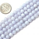 Sweet & Happy Girl's store 6mm Natur Edelstein Blau Chalcedon Perlen Strang 15 Zoll Schmuckherstellung Perlen
